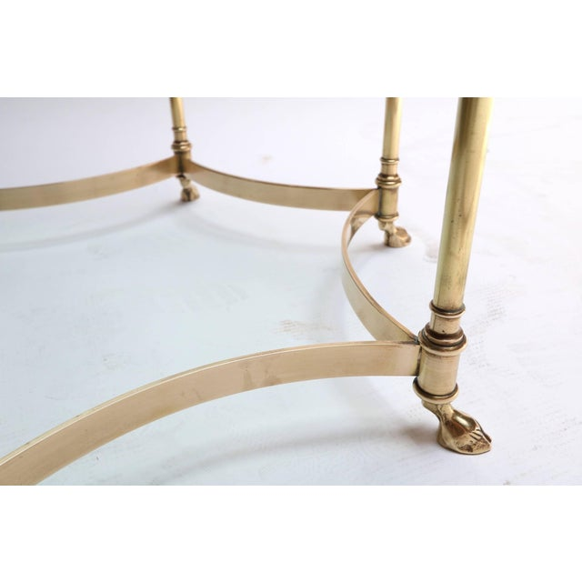 Metal Hexagonal Brass Side Table With Glass Top and Goat Feet For Sale - Image 7 of 10