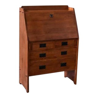 Crafters and Weavers Arts and Crafts Mission Solid Oak Secretary Desk - Light Brown For Sale