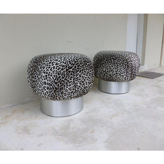Mid-Century Modern 1970's Karl Springer Style Leopard Fabric Souffle Poufs- A Pair For Sale - Image 3 of 7