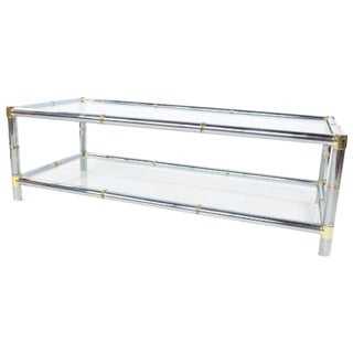 Chrome Brass and Glass Coffee Table by Jansen For Sale