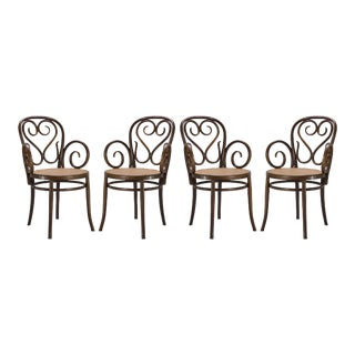 Bentwood Dining Arm Chairs With Caned Seats by Salvatore Leone, Set of Four