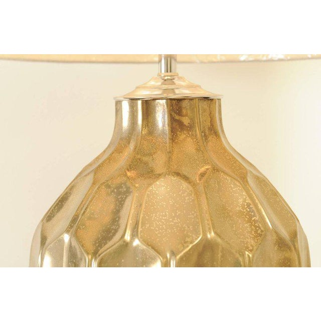 Ceramic Exceptional Restored Pair of Vintage Large-Scale Faceted Ceramic Lamps For Sale - Image 7 of 10