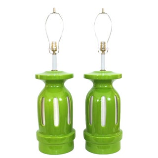 Overscale 1960s Green Pottery Lamps - A Pair For Sale