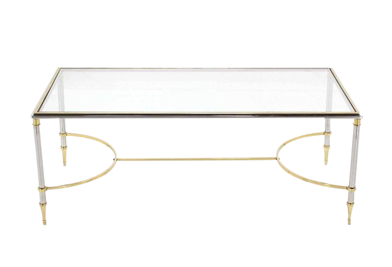 Brass Chrome Glass Top Coffee Table U Shape Brass Stretchers For Sale
