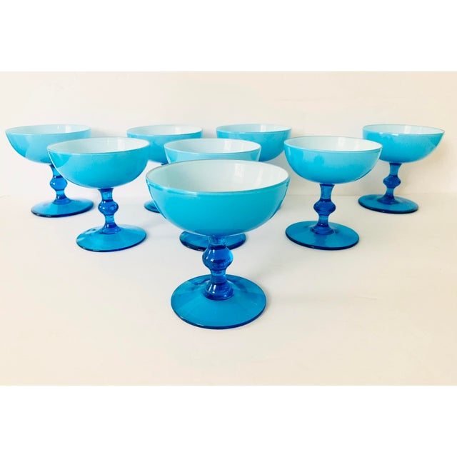 Glass Vintage Carlo Moretti Turquoise Cased Glass Coupes - Set of 8 For Sale - Image 7 of 11