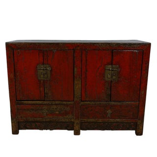 Antique Chinese Red Lacquered Sideboard For Sale