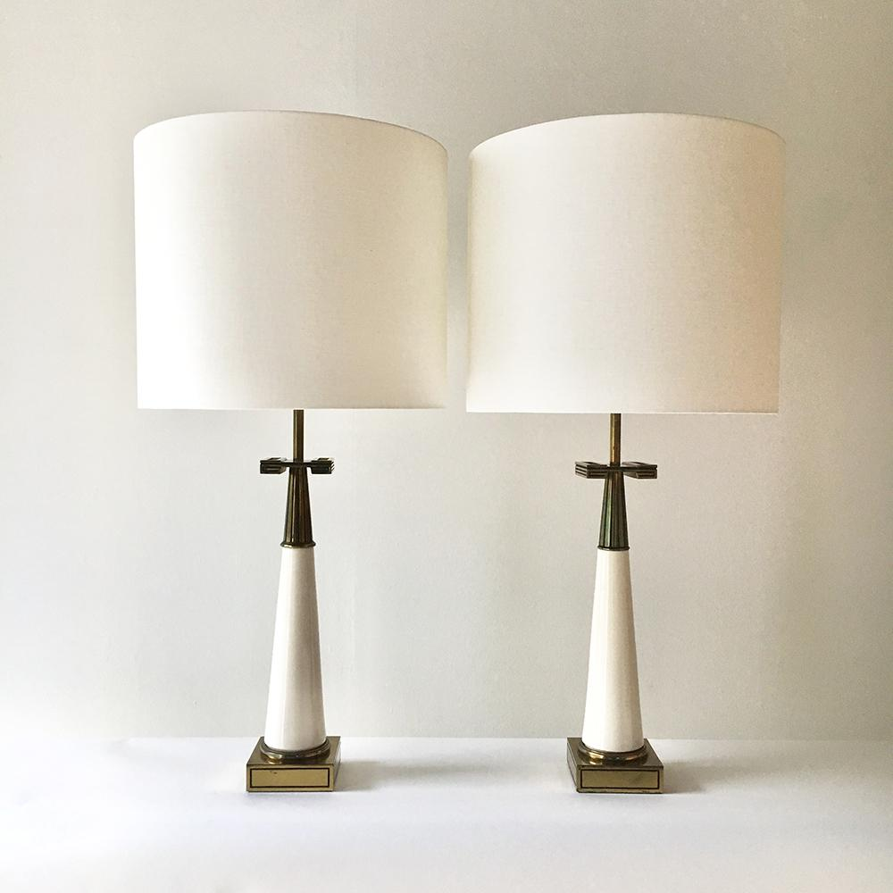 Incredible Pair Of Stiffel Designed Table Lamps With Greek Key