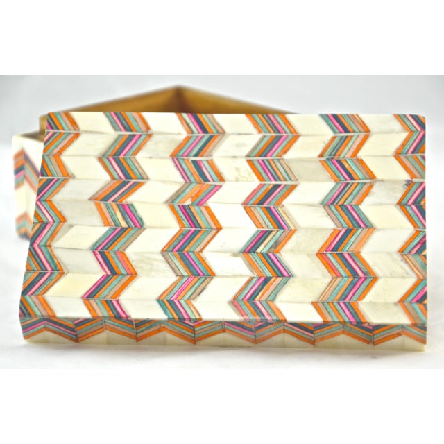 Inlaid Bone Chevron Box For Sale - Image 4 of 8
