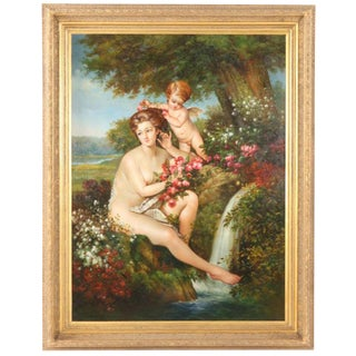 21st C Oil on Canvas Painting of Venus & Cherub by Waterfall Gilt Frame For Sale