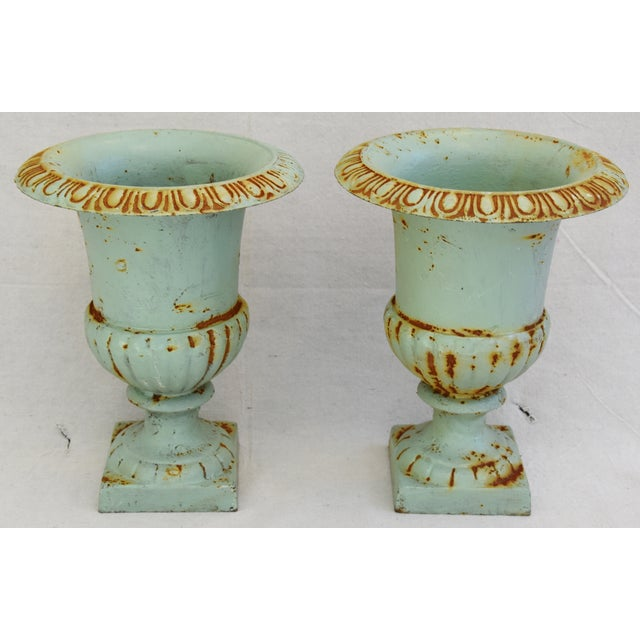 Vintage Teal/Blue Cast Iron Urn Planters - Pair For Sale - Image 10 of 11