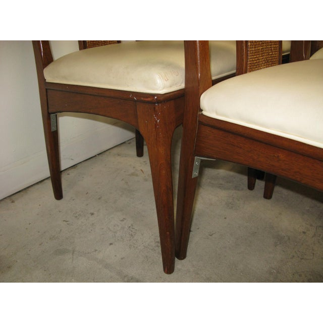 Brown Walnut and Cane Dining Chairs by John Stuart- Set of 6 For Sale - Image 8 of 11