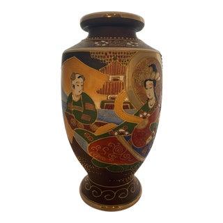 Antique Satsuma Moriage Vase Kannon Goddess of Mercy For Sale