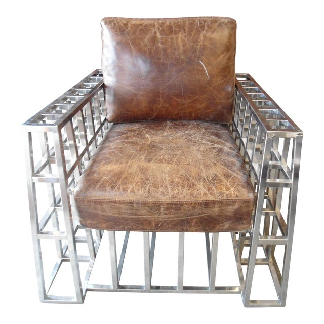 Hd Buttercup Distressed Leather and Chrome Arm Chair - Image 1 of 5