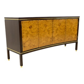 Mid Century Modern Edward Wormley for Dunbar Curved Burled Brass and Walnut Sideboard/Credenza For Sale
