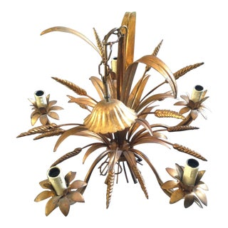 1950's Maison Bagues Antiqued Gilt Tole 5 Light Sheaf of Wheat Chandelier For Sale