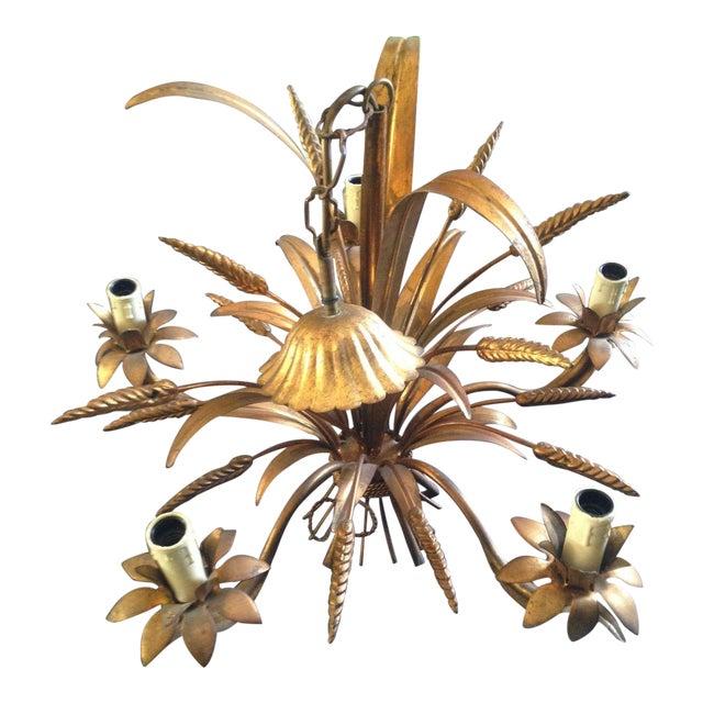 1950's Maison Bagues Antiqued Gilt Tole 5 Light Sheaf of Wheat Chandelier For Sale