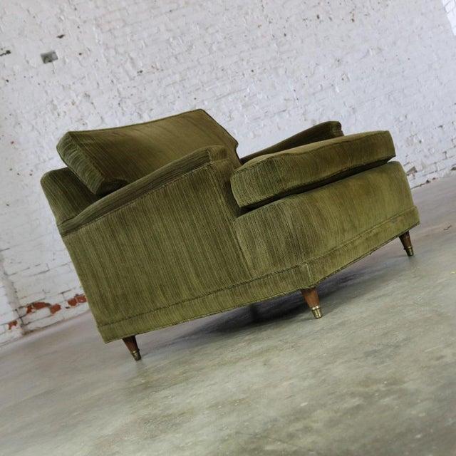 Deep Green Velvet Lawson Style Vintage Club Chair Mid Century Modern - Image 3 of 11
