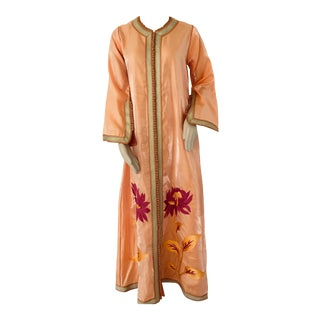 Moroccan Vintage Caftan 1970s Kaftan Maxi Dress Orange With Floral Embroideries For Sale