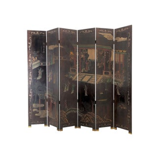Mid-Century Six Panel Carved Asian Folder Screen For Sale