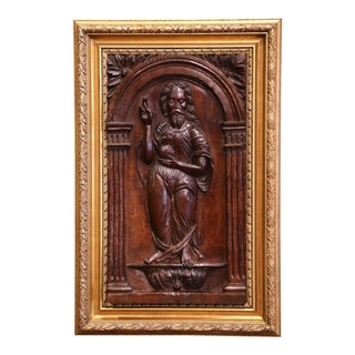 18th Century Carved Oak Panel of Jesus Christ Blessing in Giltwood Frame For Sale