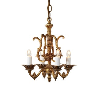 Late 20th Century Baroque Four-Light Brass Metal Chandelier
