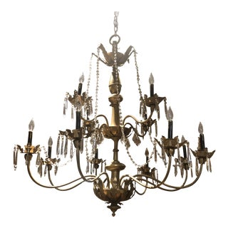 Impressive Scale 12 European Lite Gilt Chandelier With Crystal For Sale