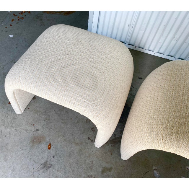 Vintage Contemporary Upholstered Waterfall Benches - a Pair For Sale - Image 4 of 7