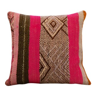 Square Wool Textile Striped Pillow For Sale