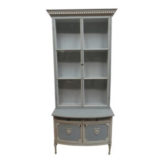 Swedish 2 Door Glass Top Hutch For Sale
