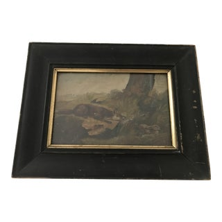 Late 19th Century Antique Fox Hunting Rabbit Framed Oil on Board Painting For Sale