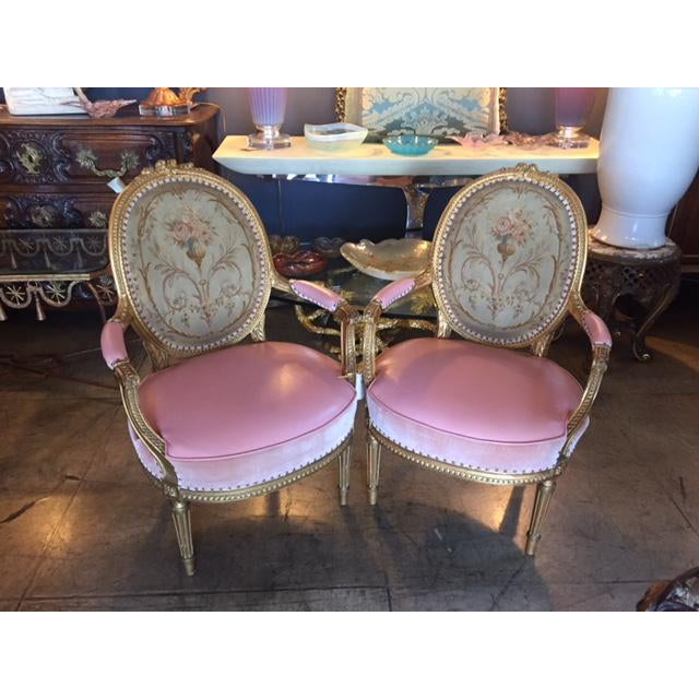 Pair of 19th Century French Hand Made Abousson Tapestry Finely Carved giltWood Pink Leather Chairs