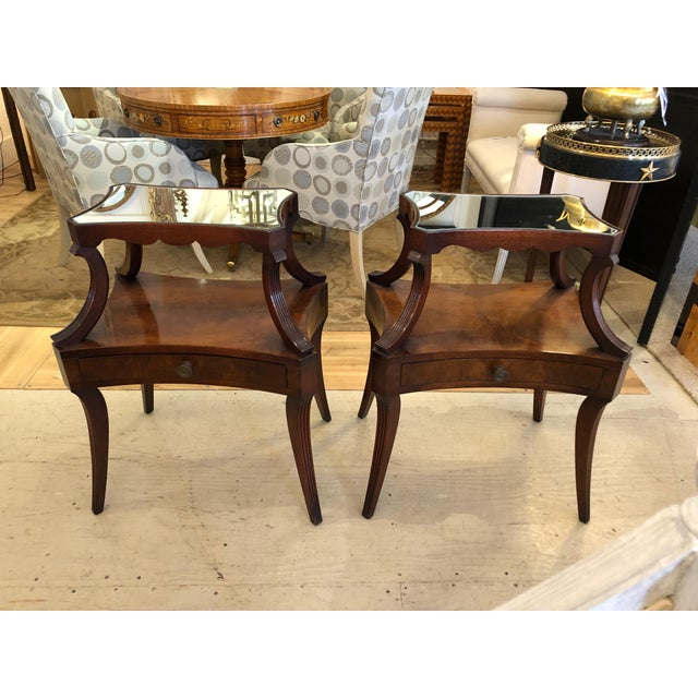 1930s Traditional Grosfeld House Crotch Mahogany 2-Tier Nightstand - a Pair For Sale - Image 13 of 13