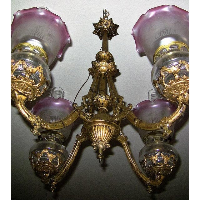 19c Pair of Bradley and Hubbard Gold Leaf 4 Arm Chandeliers - Image 8 of 13