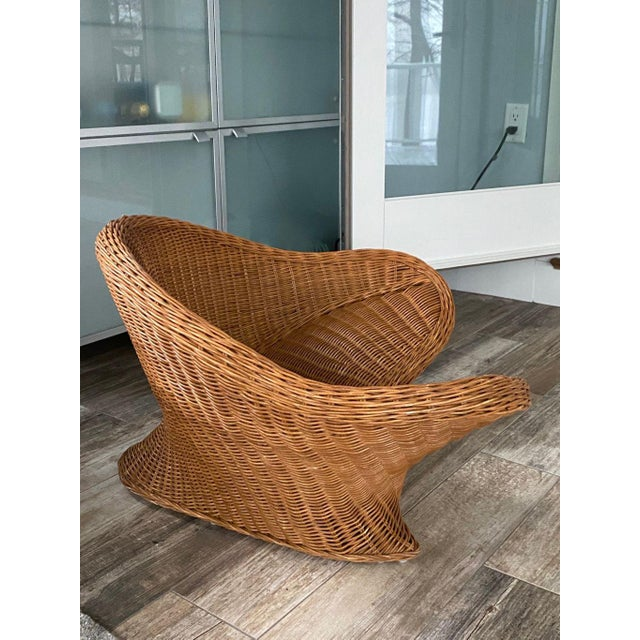 Wicker 1950s Mid Century Modern Wicker Chair For Sale - Image 7 of 9