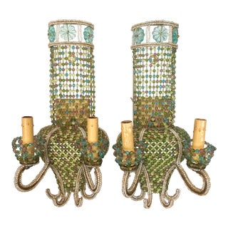 Vintage Glass Bead Sconces, Pair For Sale