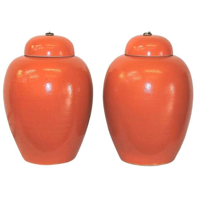 Orange Ginger Jars - a Pair - Image 1 of 3