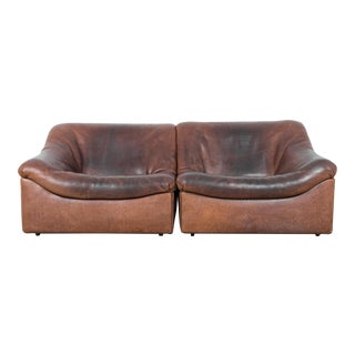 De Sede Ds46 Buffalo Leather Loveseat For Sale