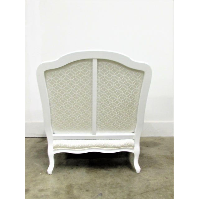French Bergère Armchairs in White Lacquer and Designers Guild Jacaranda - a Pair For Sale - Image 4 of 11