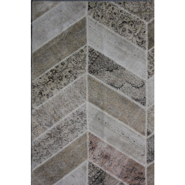 """Contemporary Aara Rugs Inc. Hand Knotted Patchwork Rug - 9'11"""" X 8'2"""" For Sale - Image 3 of 3"""