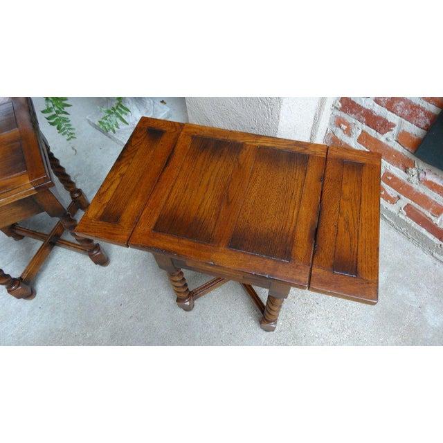 Mid 20th Century Vintage Mid-Century English Draw Leaf Tea Table For Sale - Image 5 of 11