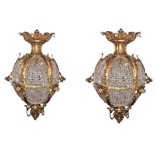 Pair of Palatial Doré Bronze Circular Crystal Beaded Ball Chandeliers For Sale