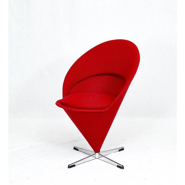 "Mid-Century Modern Verner Panton ""Cone"" Chair For Sale - Image 3 of 10"