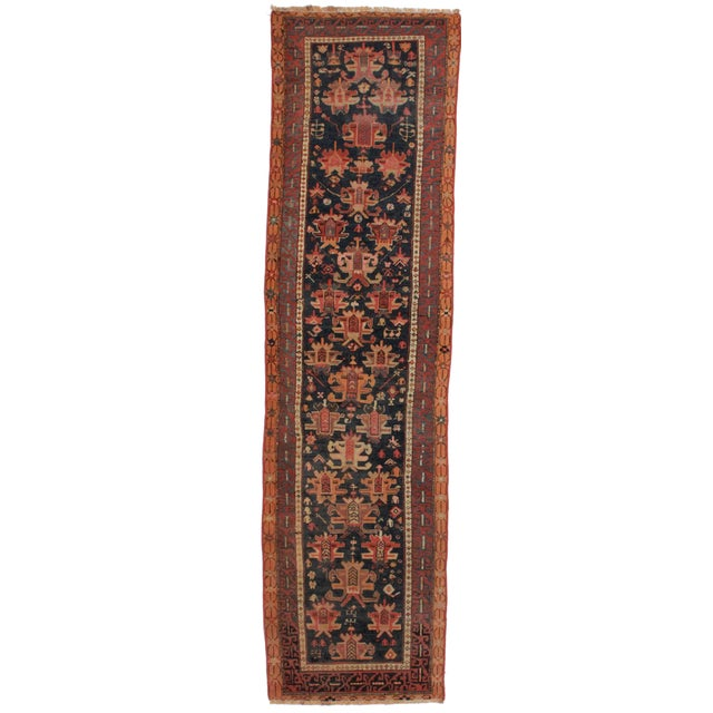 Vintage Russian Caucasian Runner - 2′10″ × 10′10″ For Sale