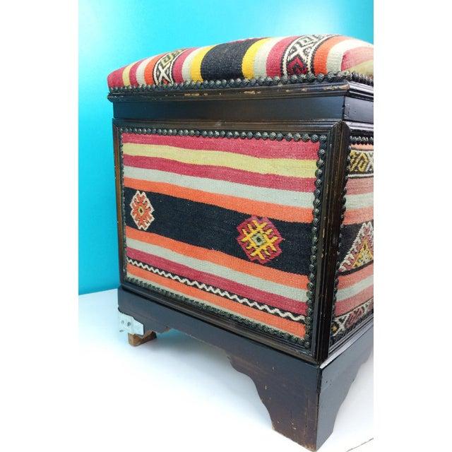 Yellow Antique Turkish Kilim Cedar Storage Trunk Bench For Sale - Image 8 of 10