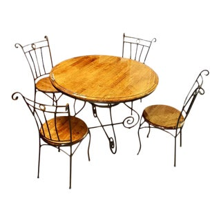 Round Reclaimed Oak and Scrolled Iron Round Dining Table Set For Sale