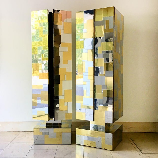 Mid-Century Modern Pair of Totem Cityscape Cabinets by Paul Evans 1970s For Sale - Image 3 of 12