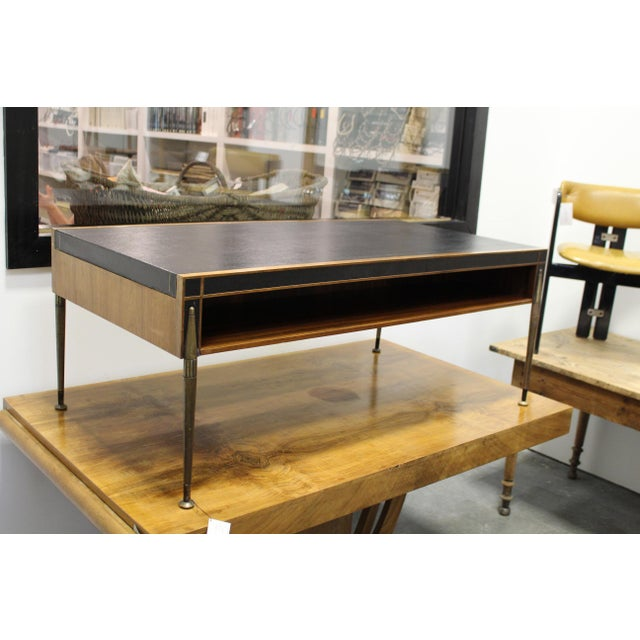 Mid-Century Leather Top And Open Shelf Cocktail Table