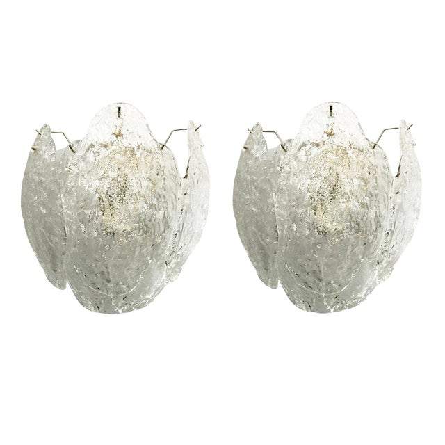 Pair of Italian Murano Glass Leaves Sconces For Sale