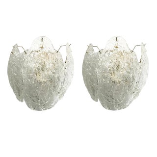 Pair of Leaves Sconces by Mazzega For Sale