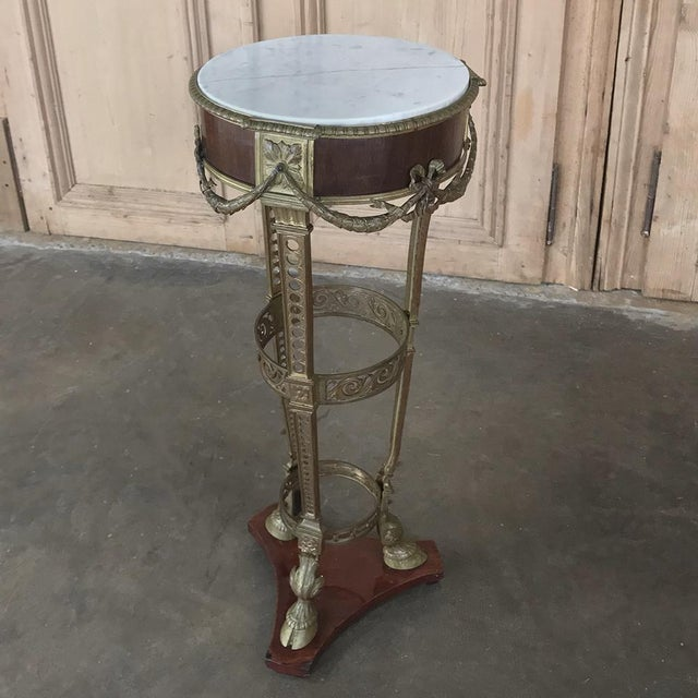 19th Century French Louis XVI Marble Top Brass Pedestal For Sale - Image 4 of 12